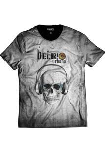 Camiseta Di Nuevo Delírio Urbano Cinza Skull Rap Preta