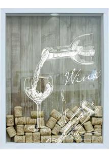 Quadro Porta Rolhas 32X42X4Cm Wine Taça Branco