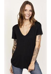 Camiseta Cora Básico Decote V Modal Feminina - Feminino-Preto