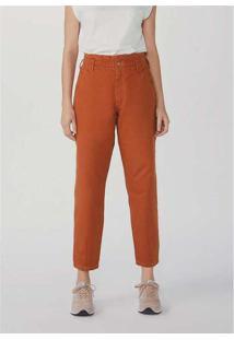 Calça Feminina Slouchy Em Jeans De Algodão Laranja