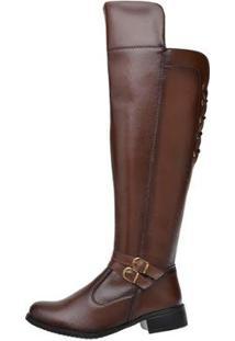 Bota Over The Knee Feminina Cano Alto Fivela Conforto Casual - Feminino-Marrom