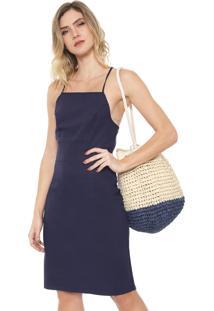 Vestido Linho Mercatto Curto Trapézio Azul-Marinho