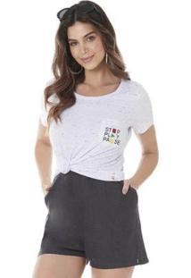 Camiseta Serinah Bordado Localizado Stop, Play Pause Feminina - Feminino-Branco