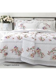 Edredom Floral Santorine Casal- Branco & Rosa- 220X2Sultan