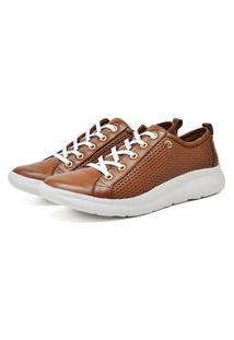 Tenis Sapatenis Slip On Ultra Leve Couro Confort Caramelo