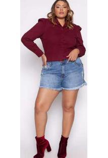 Camisa Almaria Plus Size Izzat Macon Jeans Vinho Vermelho