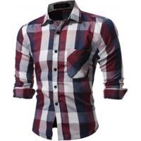 0e4a37b8a Camisa Masculina Slim Xadrez Manga Longa - Roxo E Vermelho