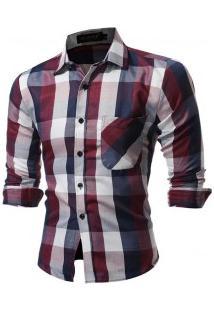 Camisa Masculina Slim Xadrez Manga Longa - Roxo E Vermelho