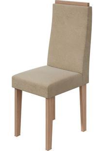 Cadeira Dafne Veludo Naturale Creme Carvalho Naturale