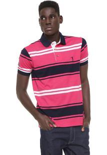 ... Camisa Polo Aleatory Reta Listrada Rosa Azul 0c18cba0da481