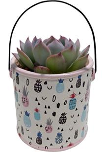 Vaso De Cerâmica Branco Pineapple Can Urban Home