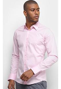 Camisa Colcci Fit Manga Longa Masculina - Masculino-Rosa