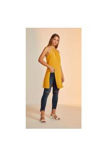 Blusa Leboh Gola Alta Cavada Abertura Frente Amarelo