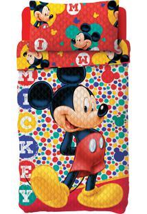 Colcha Dupla Face Solteiro Estampada Bouti Mickey 1,60 M X 2,20 M Com 2 Peças - Produto Importado Lepper Vermelha