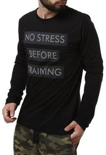 Camiseta Manga Longa Masculina No Stress Preto