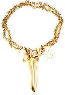 Pulseira Barbara Strauss Pimenta Metal E Pérola Lalique Revestido Em Ouro 18K - Feminino-Dourado