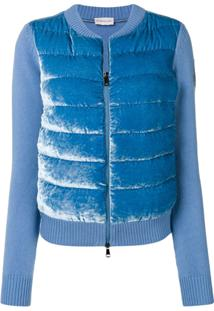 Moncler Contrast Panel Feather Down Cardi-Coat - Azul