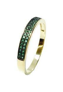 Anel Kumbayá Meia Aliança Semijoia Banho De Ouro 18K Cravaçáo De Zircônia Verde Esmeralda Detalhe Em Ródio Negro