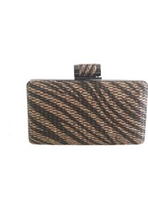 Bolsa Real Arte Clutch Estampa Animal Marrom