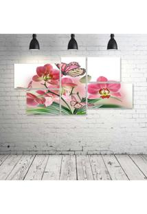 Quadro Decorativo - Flowers-Butterflies-Butterfly-Soft-Bokeh - Composto De 5 Quadros
