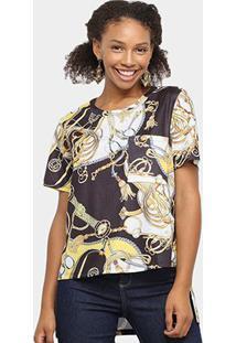 Camiseta Lança Perfume Estampada Bolso Feminina - Feminino