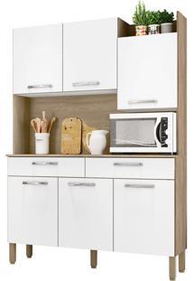 Armário De Cozinha Modena Nogal/White 6 Portas 2 Gavetas Nicho Superior - Kits Paraná