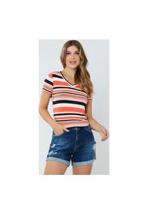 T-Shirt Feminina Eloa Listrada Coral