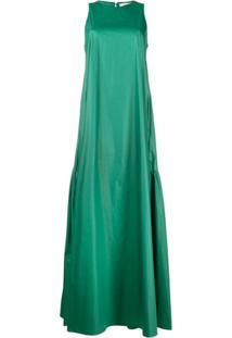 Peserico Vestido Longo Drapeado Sem Mangas - Verde