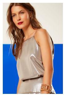 Vestido Metal Decote Costas Midi Prata Envelhecido