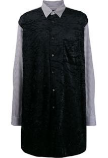 Comme Des Garçons Homme Plus Striped Panelled Long Shirt - Preto