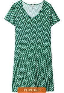 Vestido Verde Curto Geométrico Plus