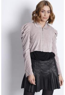 Jaqueta Em Plush Com Pregas - Rosê- Le Fixle Fix