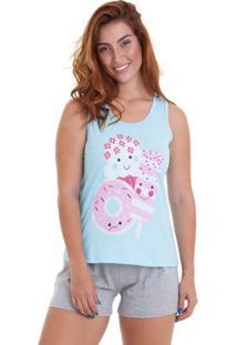 Pijama Short Doll Regata Doces Feminino Com Algodão Luna Cuore