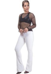 Calça Cintura Alta Miss Blessed Flare Jacquard - Feminino-Branco