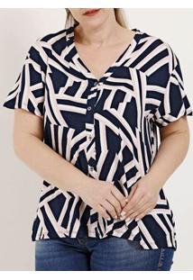 Camisa Manga Curta Plus Size Feminina Rovitex Azul Marinho