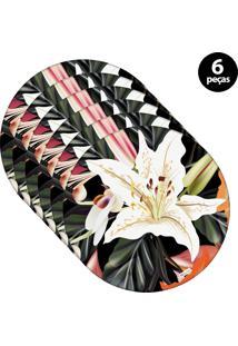 Sousplat Mdecore Floral 32X32Cm Preto 6Pçs