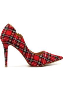 Scarpin Royalz Curvas Salto Alto Fino - Feminino-Vermelho