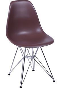 Cadeira Eames Dkr- Cafã© & Prateada- 80,5X46X42Cmor Design