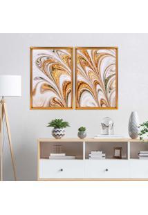 Quadro Com Moldura Chanfrada Mármore Abstrato Dourado Dourado - Médio