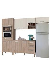 Cozinha Compacta Ametista Com Balcáo 10 Portas Composiçáo 5 Nogal/Arena - Kit'S Paraná