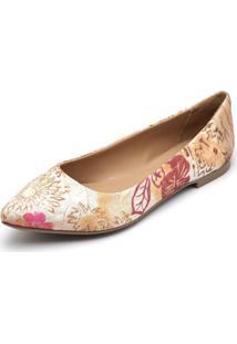 Sapatilha Feminina Bico Fino Top Franca Shoes Floral Fio De Ouro