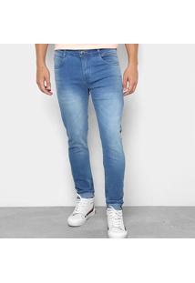 Calça Jeans Skinny Opera Rock Estonada Washed Cintura Média Masculina - Masculino