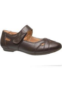 Sapatilha Couro 1298 Doctor Shoes Feminina - Feminino-Café