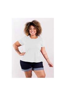 Blusa Bata T-Shirt Básica Gola Redonda Plus Size Modaliss