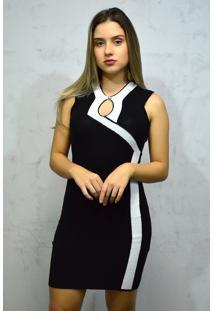 Vestido Curto Tricot Preto E Branco Decote Gota