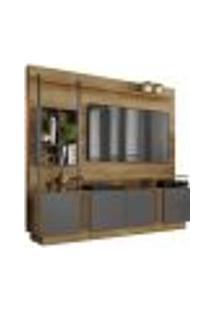 Painel Home Para Tv Até 65 Polegadas 4 Portas 6 Nichos 2 Prateleiras Fortuna Jcm Movelaria Noronha/Grafite