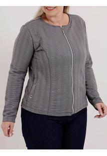Jaqueta Plus Size Feminina Cinza Escuro