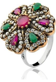 Anel Le Diamond Pedra Multicolorido Verde