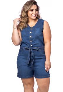 Macaquinho Jeans Curto Com Cinto Plus Size