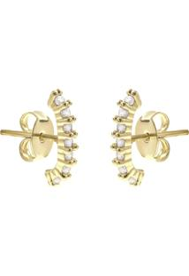 Brinco Piuka Ear Hook Lully Zircônia Cristal Folheado A Ouro 18K